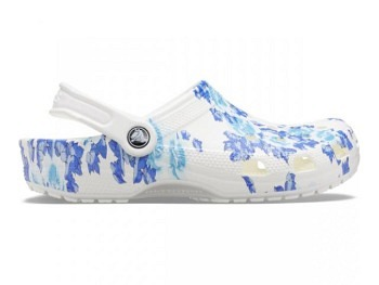 Crocs Classic Printed Floral Clog white blue